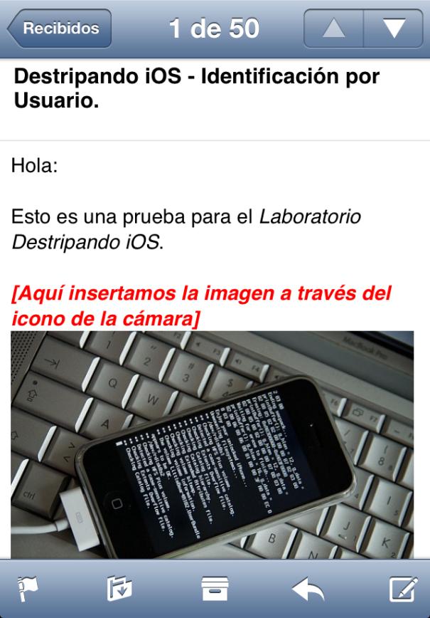 MobileMail Correo Imagen Incrustada