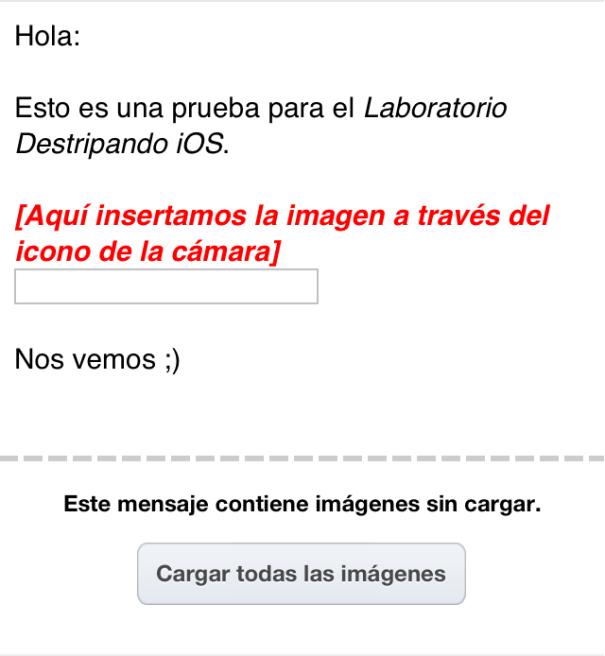 Opcion Cargar Imagenes Desactivada - MobileMail